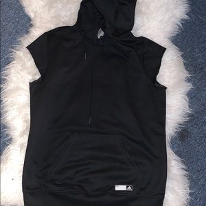 Woman's black adidas vest with hood worn once
